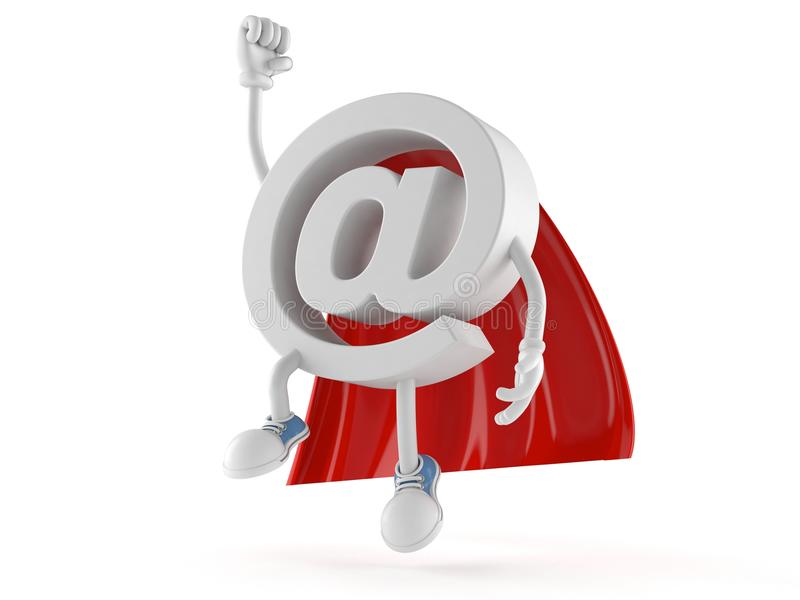 E-mail character with hero cape. On white background stock illustration