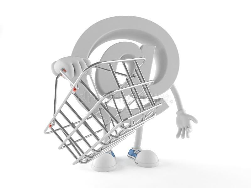 E-Mail-Charakter, der Einkaufskorb hält vektor abbildung