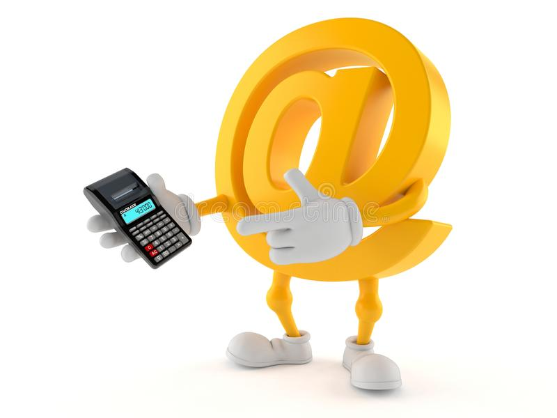 E-Mail-Charakter unter Verwendung des Taschenrechners stock abbildung