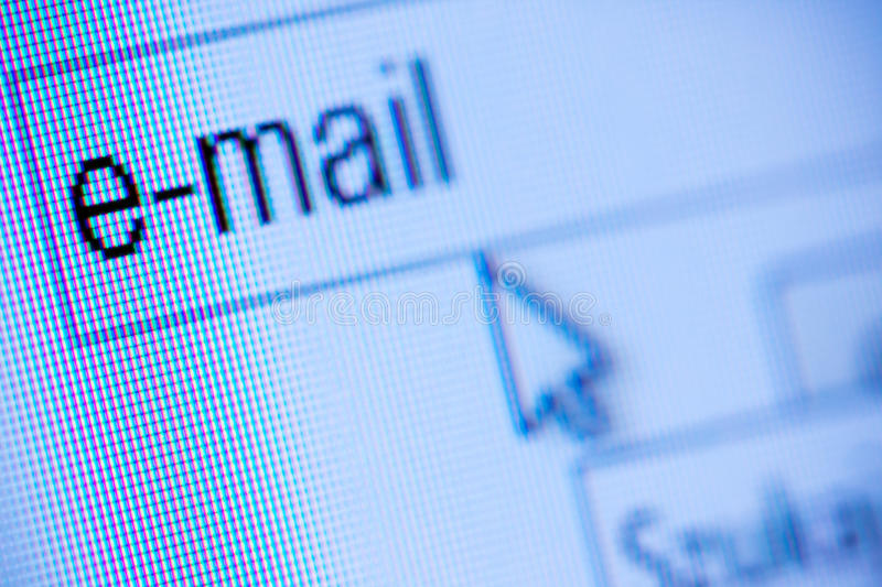 E-mail concept. Digital pixels on flat screen shot in studio royalty free stock photo