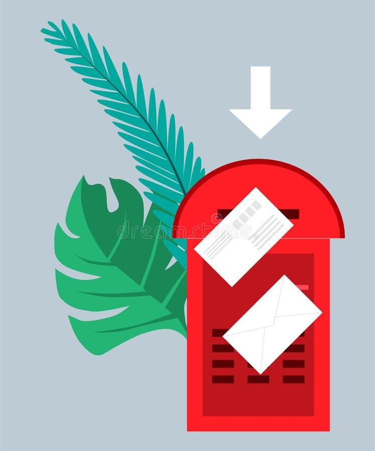 E-mail concept Brievenbus met enveloppen door groene palmbladen worden omringd dat Vector illustratie Voorwerpen op een transpara stock illustratie