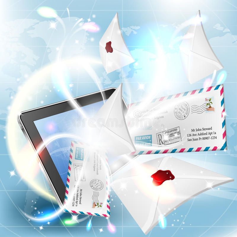 E-Mail Concept. Mail from Screen Tablet PC on bright background royalty free illustration