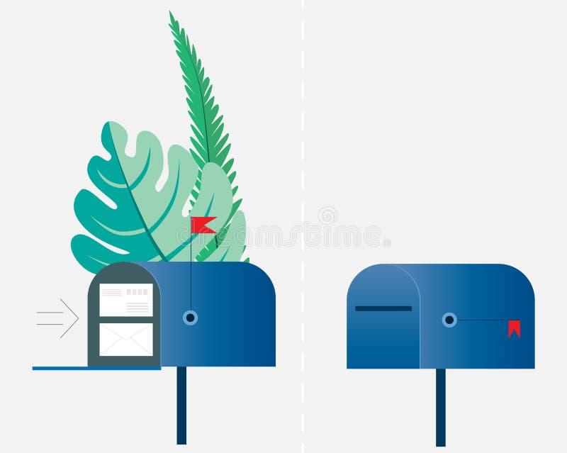 E-mail concept Twee die brievenbussen, leeg en met enveloppen door groene palmbladen worden omringd Vector illustratie Voorwerpen royalty-vrije illustratie