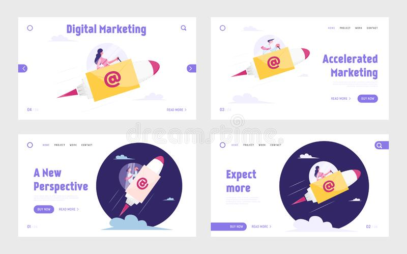 E-mail Correspondence Website Landing Page Set. Businesspeople Flying on Rocket with Email Symbol and Envelope on Board royalty free illustration