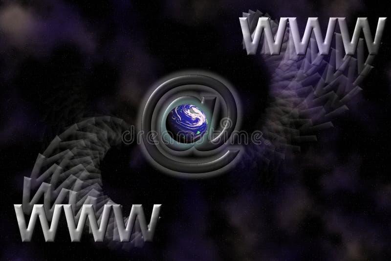 E-mail de symbolenachtergrond van WWW, van de Aarde en stock illustratie