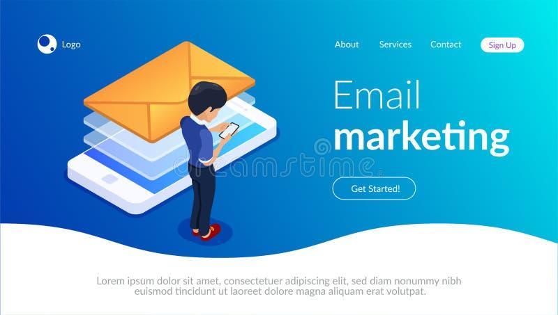 E-mail die isometrisch concept op de markt brengen Het ontvangen van of het verzenden van een brief die een mobiele telefoon met  royalty-vrije illustratie