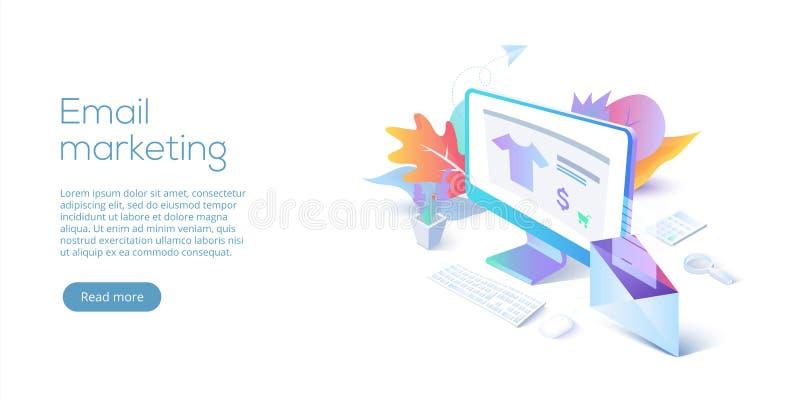 E-mail die isometrische vectorillustratie op de markt brengen Elektronische post m vector illustratie