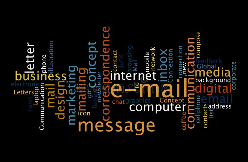 E-mail, digital communication word cloud concept royalty free stock photography