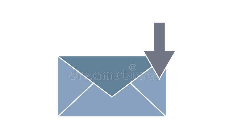 E-mail download vector icon.Simple flat symbol. Perfect  pictogram illustration on white background. E-mail download  icon set vector illustration. Flat style royalty free illustration