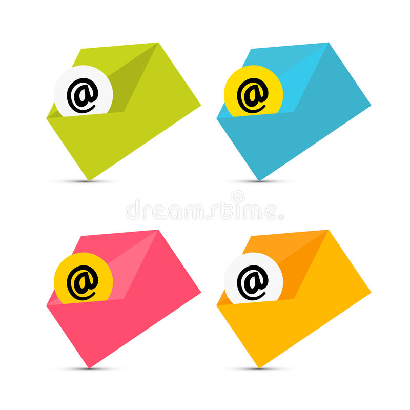 E-mail, E-mailpictogrammen, Geplaatste Enveloppictogrammen stock illustratie