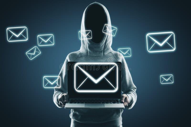 E-mail en het binnendringen in een beveiligd computersysteem concept royalty-vrije stock foto's