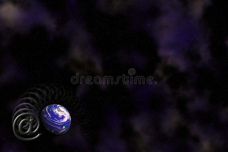 E-mail en het embleemachtergrond van de Aarde. vector illustratie