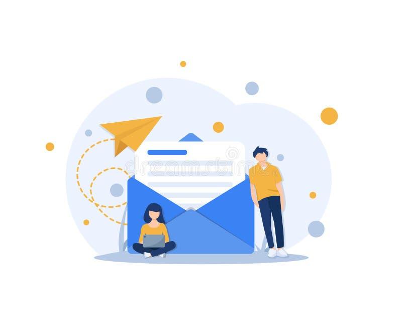 E-mail en overseinen, E-mail marketing campagne, het Werkproces vector illustratie