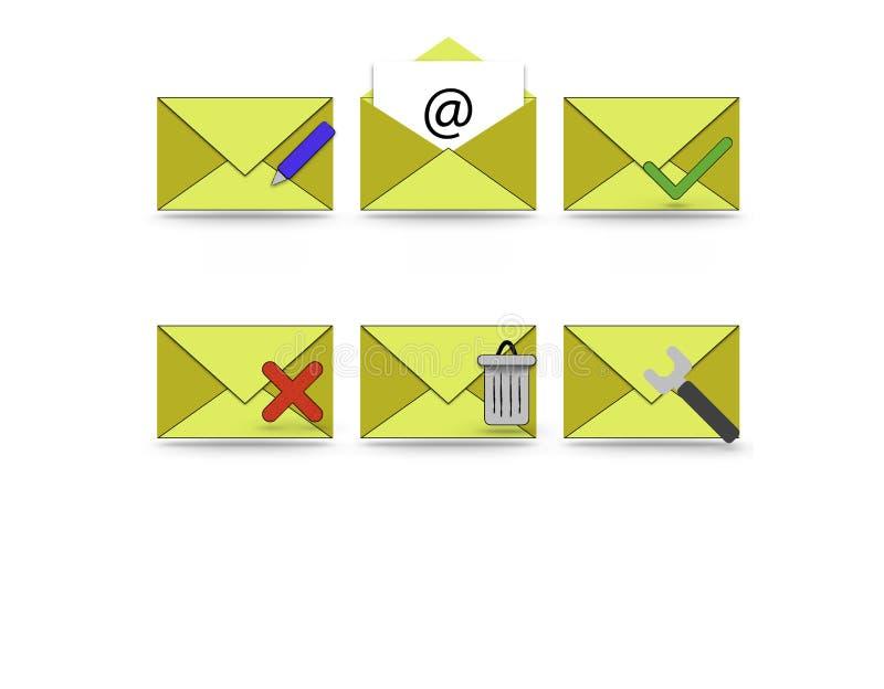 E-mail en telefoonpictogrammen stock afbeelding