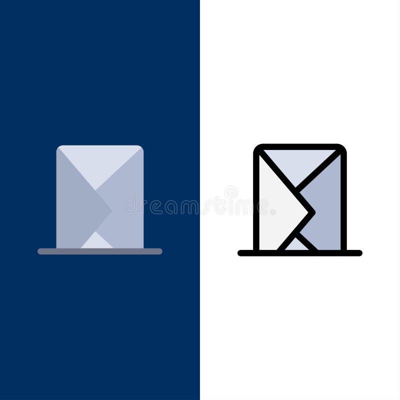 E-mail, envelope, correio, mensagem, enviada ícones O plano e a linha ícone enchido ajustaram o fundo azul do vetor ilustração stock