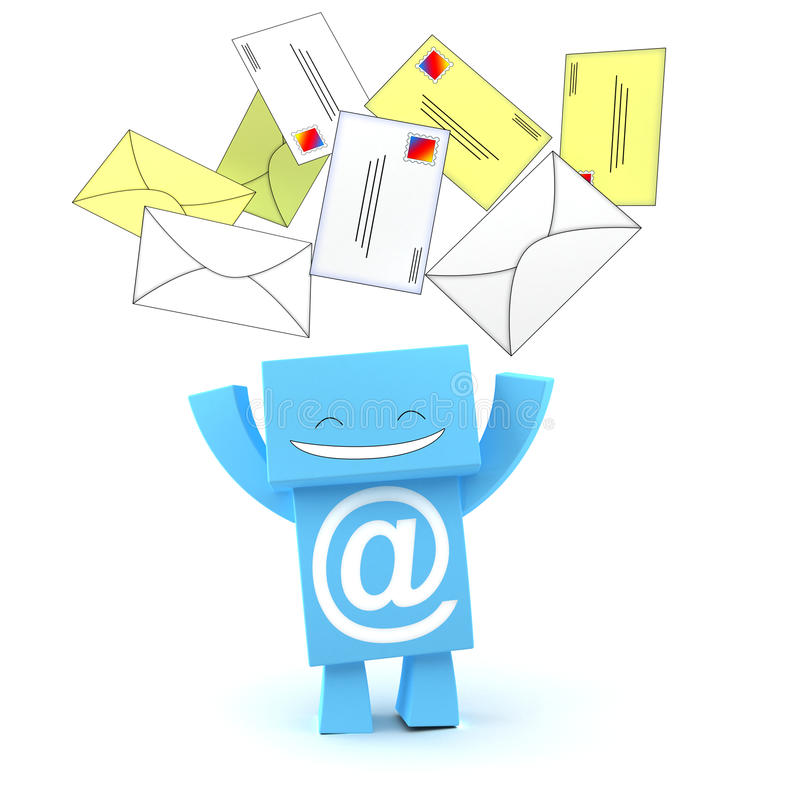 E-mail Envelopes 3D Character Stock Photography