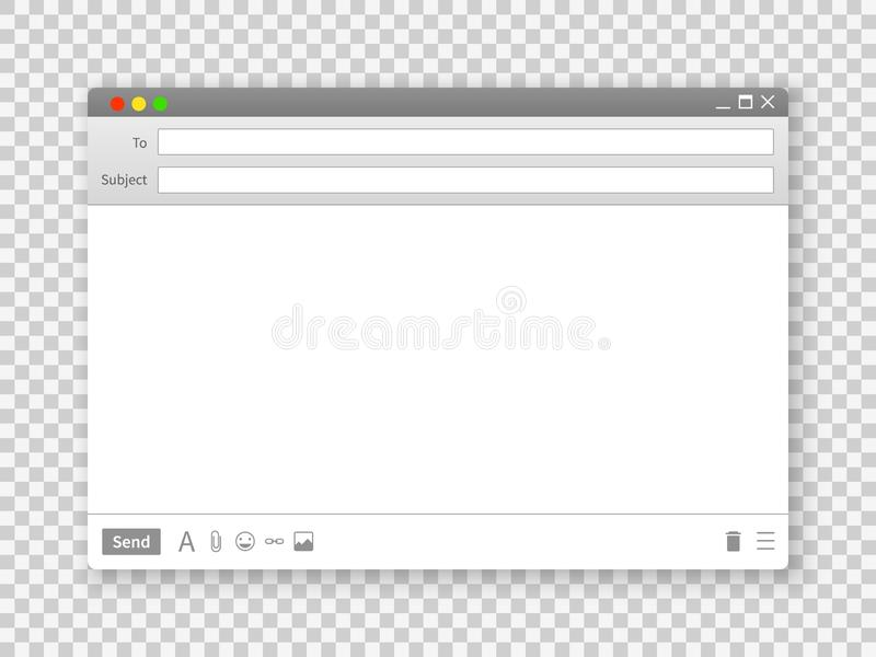 E-Mail-Fenster Leere Textnachrichtrahmenschnittstelle schließt für Internet-Website auf transparentem Hintergrundvektorbild an stock abbildung