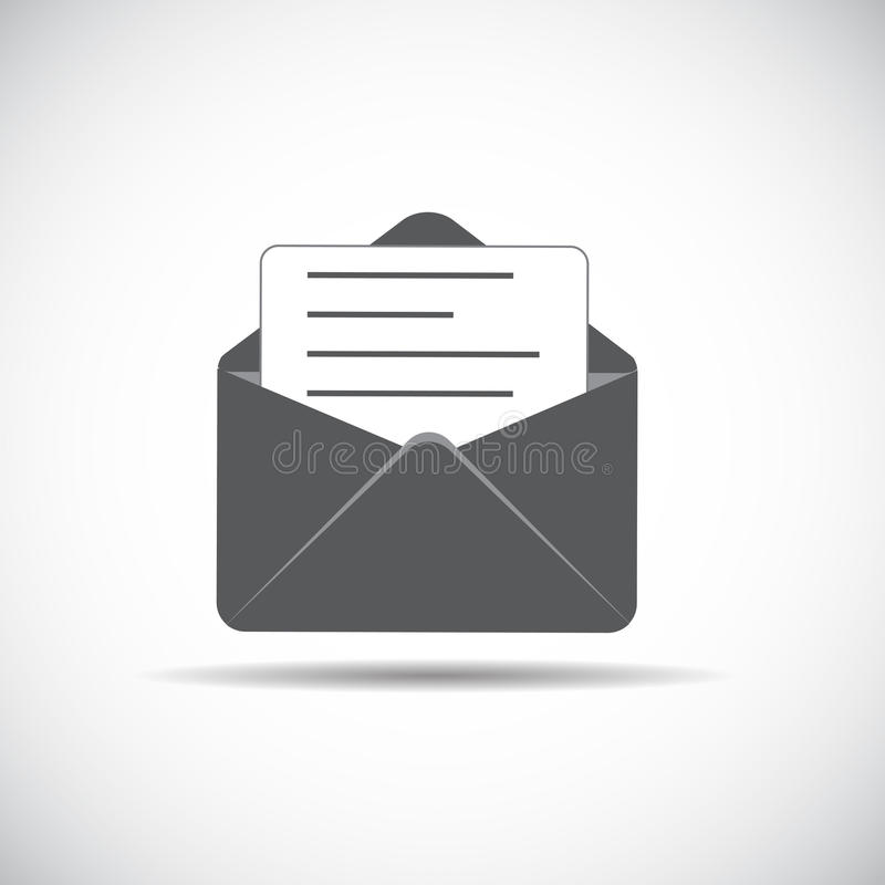 E-Mail Flat Icon with Shadow, Vector Illustration stock illustration