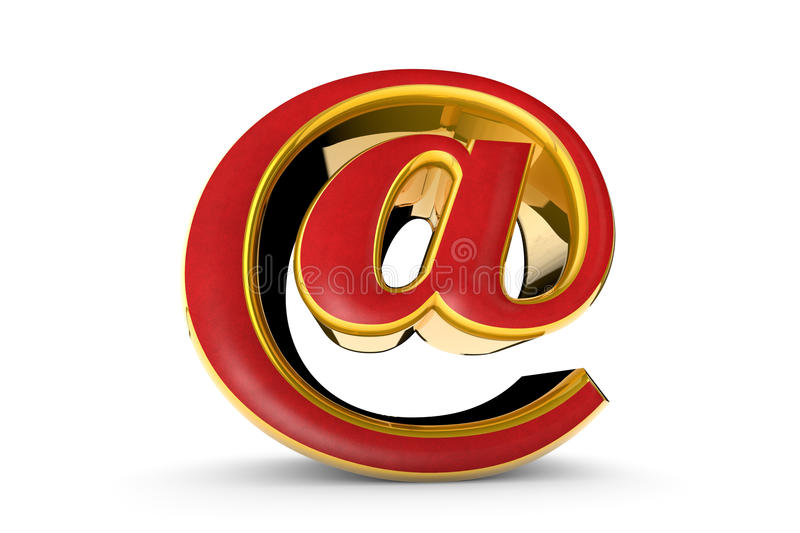 E-mail gold symbol. 3D render illustration. Isolated over white. E-mail red&gold symbol. Isolated over white. Available in high-resolution and several sizes to stock illustration