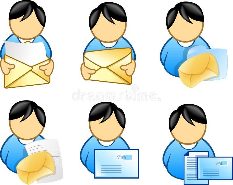 e - mail gospodarstwa ikony ludzi royalty ilustracja