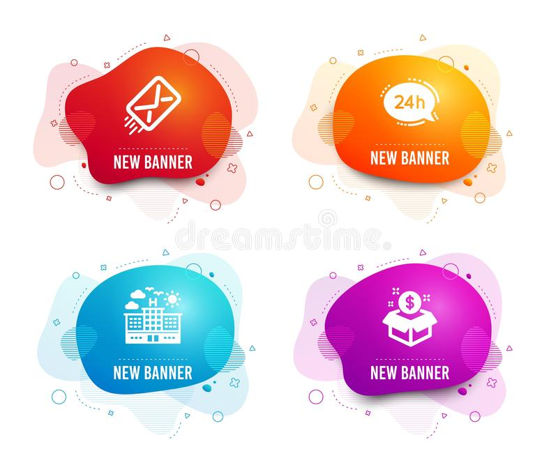 E-mail, 24h service and Hotel icons. Post package sign. Mail delivery, Call support, Travel. Postbox. Vector stock illustration