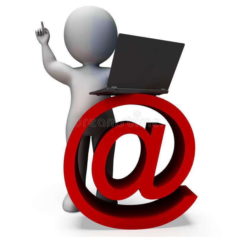 E-mail het Teken en Laptop tonen Correspondentie royalty-vrije illustratie