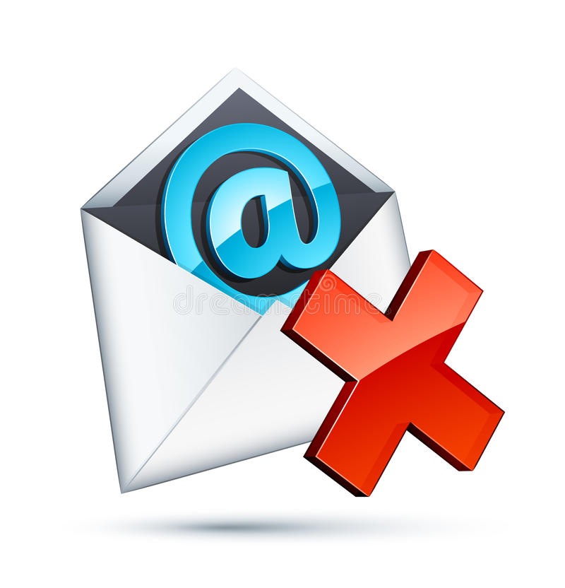 E-mail icon. With red cross royalty free illustration