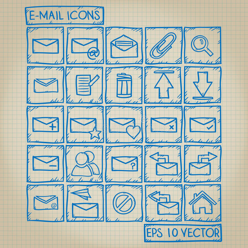 E-mail Icon Doodle Set. E-mail icon set with doodle style royalty free illustration