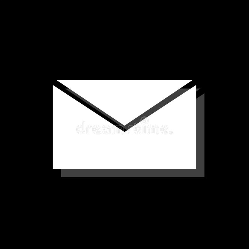 E Mail icon flat. E Mail. White flat simple icon with shadow stock illustration