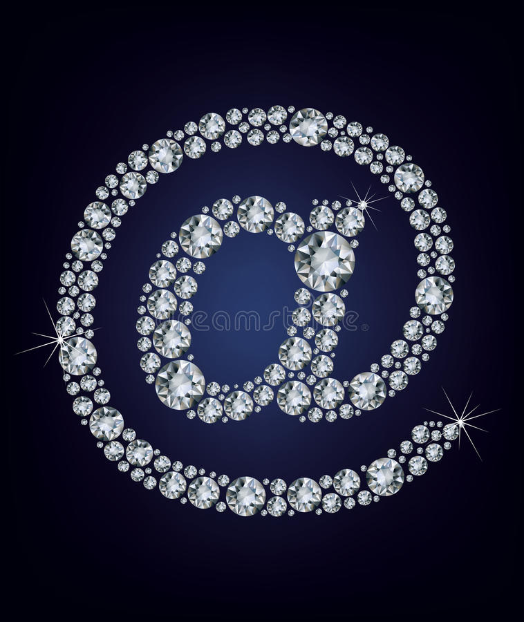 E mail icon made from diamonds stock illustration