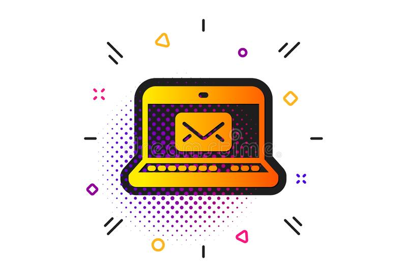 E-Mail icon. Message correspondence sign. Vector. Message correspondence sign. Halftone circles pattern. E-Mail icon. Communication symbol. Classic flat e-Mail royalty free illustration