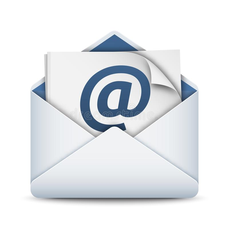 E-mail icon, vector illustration. Mailing envelope with sheets of paper and At sign vector illustration