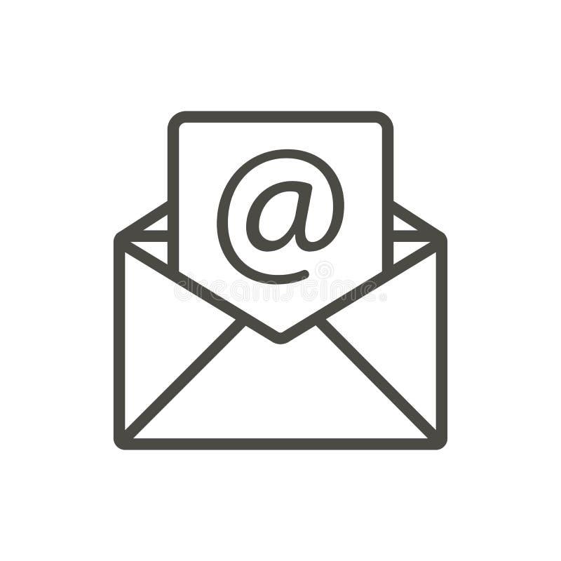 E-Mail-Ikonenvektor Linie offenes Postsymbol stock abbildung
