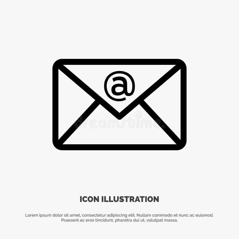 E-mail, Inbox, het Pictogramvector van de Postlijn stock illustratie