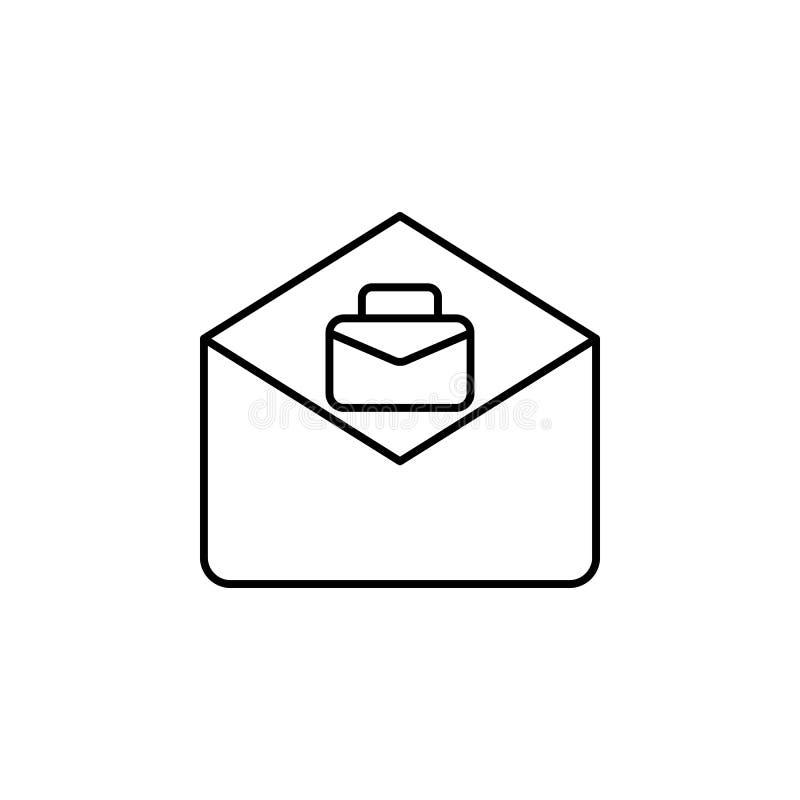 E-Mail, Jobikone auf weißem Hintergrund Kann für Netz, Logo, mobiler App, UI, UX verwendet werden stock abbildung