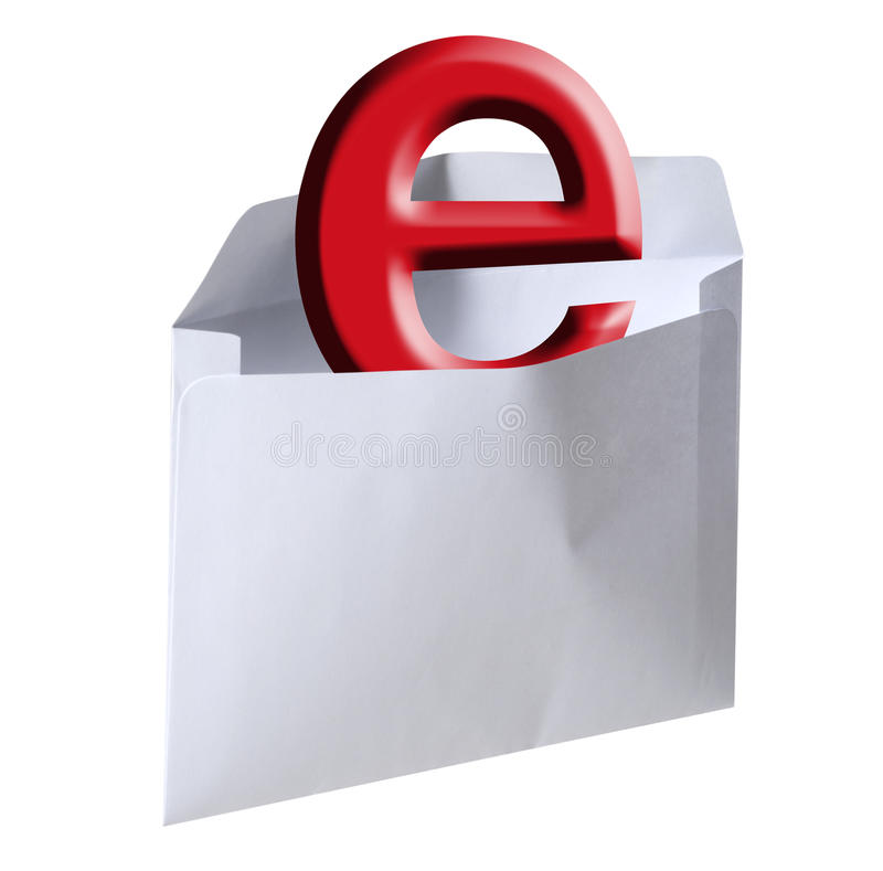 E-mail letter, isolated. Red e in light gray letter symbolizing e-mail with a clipping path stock image