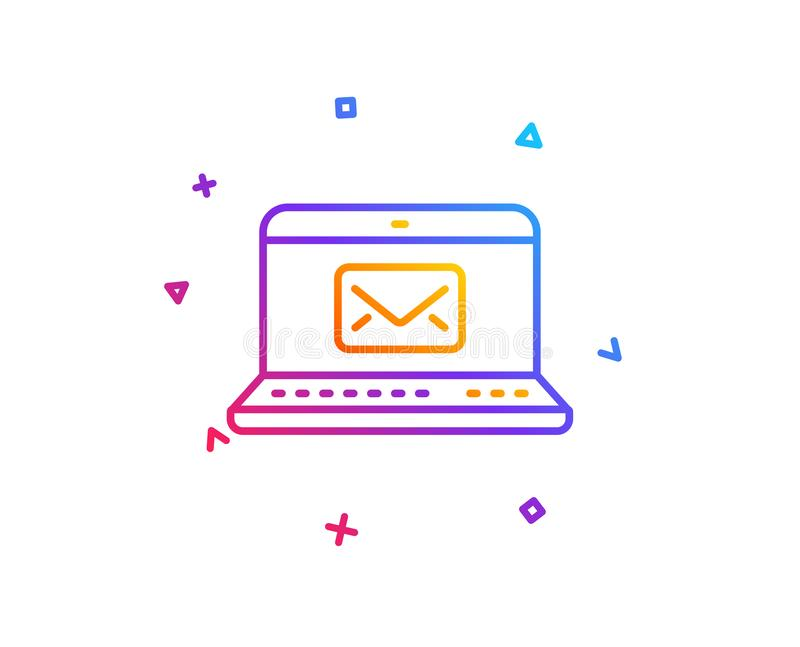 E-Mail line icon. Message correspondence sign. Vector. E-Mail line icon. Message correspondence sign. Communication symbol. Gradient line button. E-Mail icon royalty free illustration