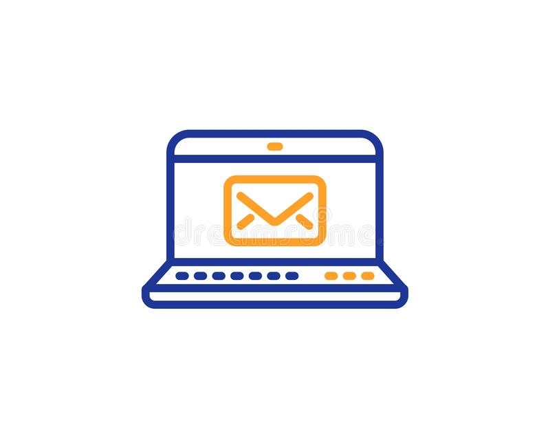 E-Mail line icon. Message correspondence sign. Vector. E-Mail line icon. Message correspondence sign. Communication symbol. Colorful outline concept. Blue and royalty free illustration