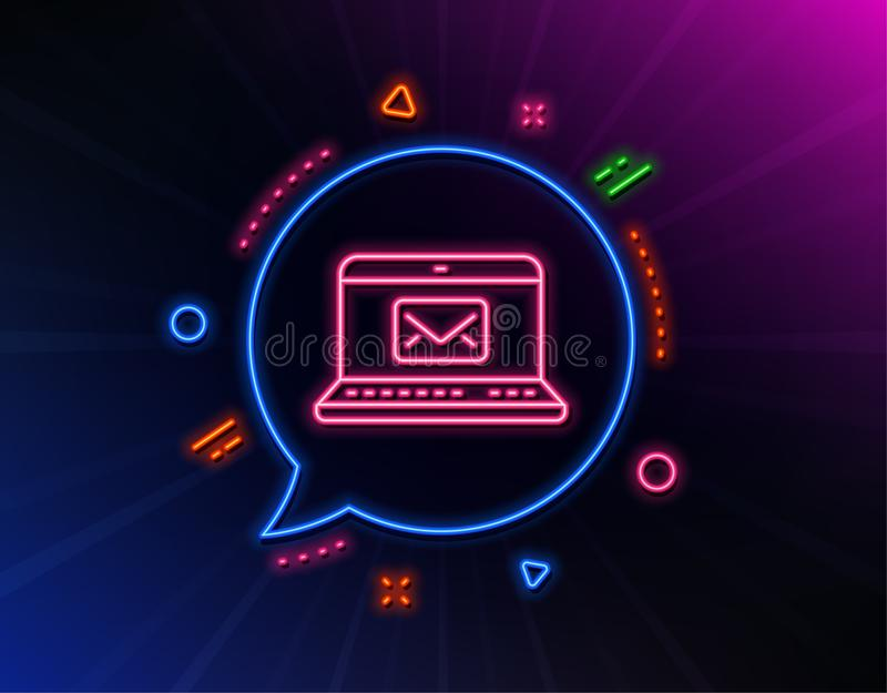 E-Mail line icon. Message correspondence sign. Vector. E-Mail line icon. Neon laser lights. Message correspondence sign. Communication symbol. Glow laser speech royalty free illustration