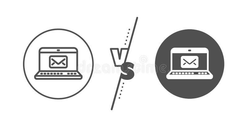 E-Mail line icon. Message correspondence sign. Vector. Message correspondence sign. Versus concept. E-Mail line icon. Communication symbol. Line vs classic e stock illustration