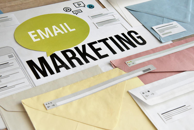 E-mail marketing concept. Concept for marketing, internet advertising, newsletter, social media services, communication royalty free stock image