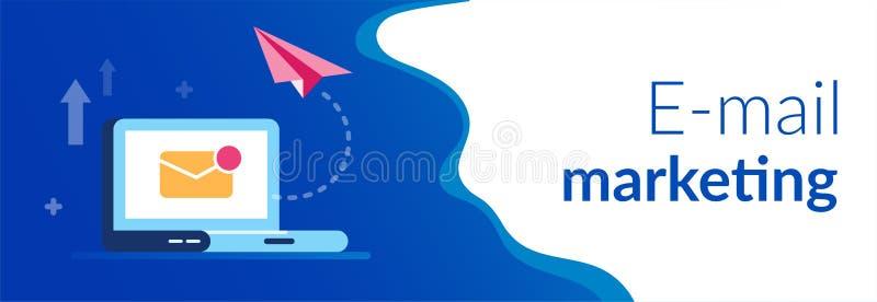 E-mail marketing concept Nieuwe dichte brief en document vliegtuigen op de laptop achtergrond e-mailbericht Vlakke vector royalty-vrije illustratie