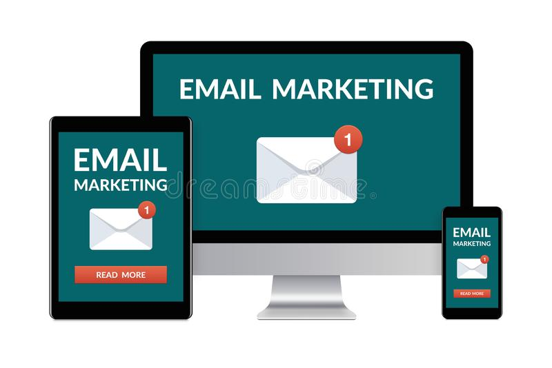 E-mail marketing concept op elektronische die apparaten op wit wordt geïsoleerd stock illustratie