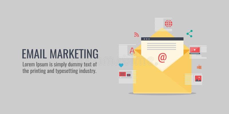 E-mail marketing concepten vectorillustratie, mededeling, bericht, bevordering, voorzien van een netwerk, reclame, e-op de markt  stock illustratie