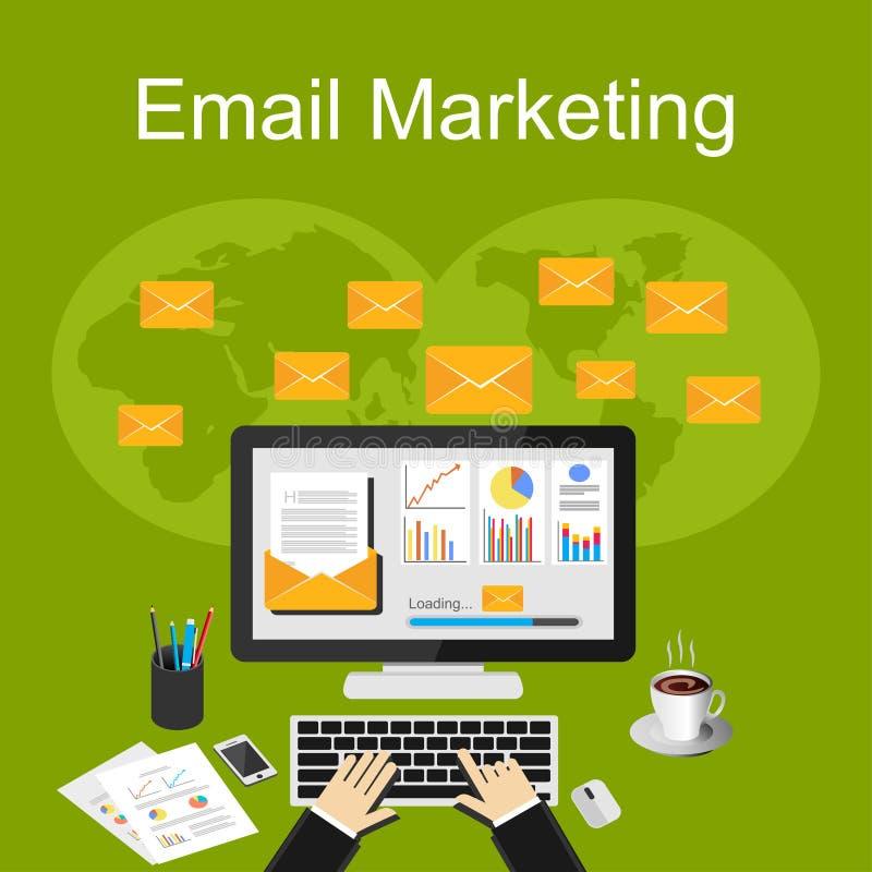 E-mail marketing illustratie De vlakke concepten van de ontwerpillustratie voor zaken stock illustratie