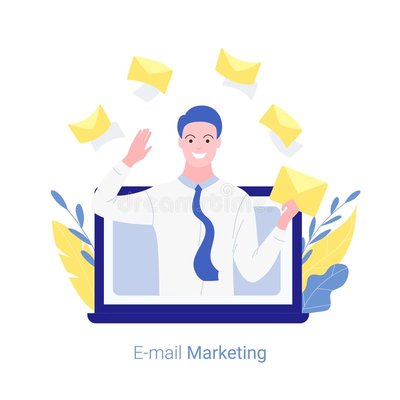 E-mail marketing, internet advertisement, online promotion concept. Young man marketer jumps out of a laptop screen with a mail in his hand. Trendy flat style vector illustration