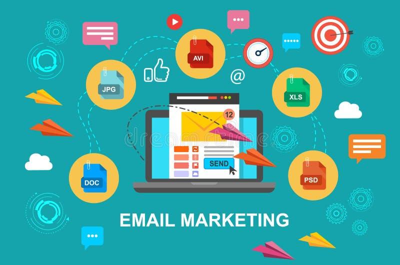 E-mail marketing, Internet-reclameconcepten Laptop met envelop en gelezen e-mail op het scherm Vector illustratie stock illustratie