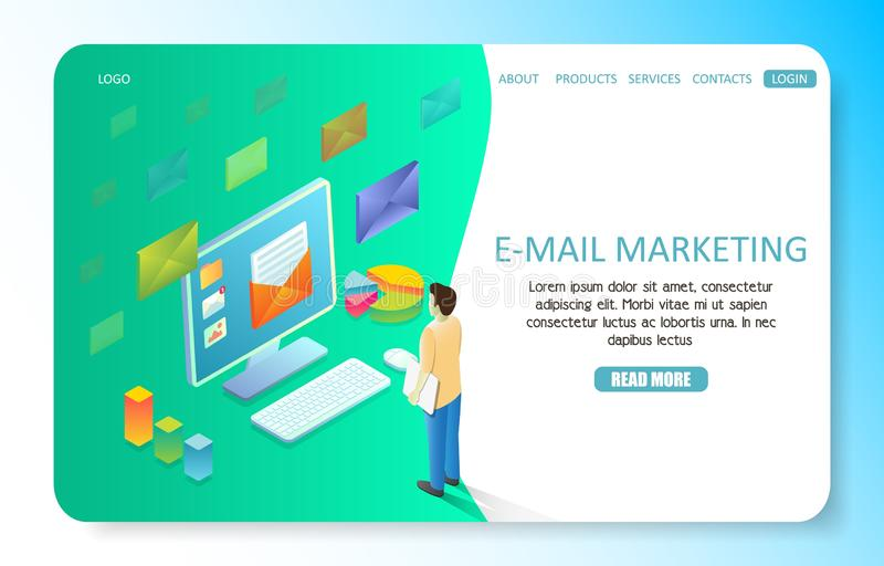 E-mail marketing landing page website vector template vector illustration