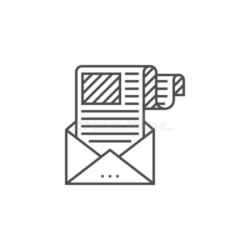 E-mail Marketing Line Icon. E-mail Marketing Related Vector Thin Line Icon. Isolated on White Background. Editable Stroke. Vector Illustration vector illustration