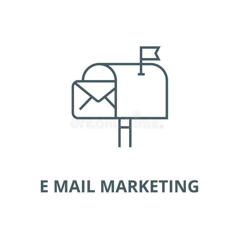 E mail marketing line icon, vector. E mail marketing outline sign, concept symbol, flat illustration. E mail marketing line icon, vector. E mail marketing vector illustration